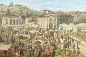 Demetrio TABACCO - Pintura - Mercato a Piazza della Funicolare, Biella