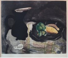 Georges BRAQUE - Estampe-Multiple - Pichet noir et citrons