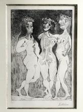 巴勃罗•毕加索 - 版画 - Les Trois Graces Couronnees de Fleurs