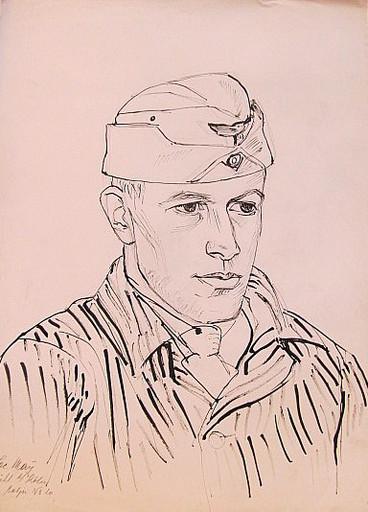 Erich HARTMANN - Disegno Acquarello - #19819: Porträt Soldat Jac. May.