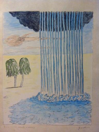 Giorgio DE CHIRICO - Stampa-Multiplo - La pioggia nel deserto