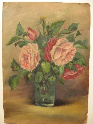 Antonin FAVIER - Peinture - bouquet de roses