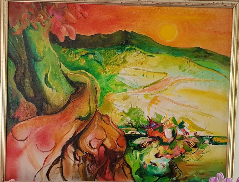 Enrico VISANI - Pintura - Bees at the sunset - Abeilles au couché du soleil