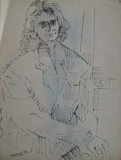 Jacques LAGRANGE - Dibujo Acuarela - DESSIN AU FEUTRE SIGNÉ 1952 HANDSIGNED FELT DRAWING