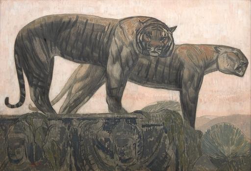Paul JOUVE - Painting - Deux tigres sur les remparts, citadelle de Hué