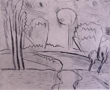 Karl SCHMIDT-ROTTLUFF - Grabado - Landscape with Sun