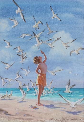 Morgan DENNIS - Pittura - Feeding the Sea Gulls, Long Island