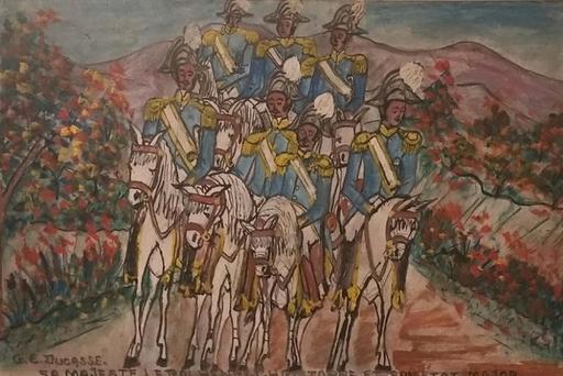 Gervais Emmanuel DUCASSE - Painting - Sa majesté le Roi Christophe et son État-Major
