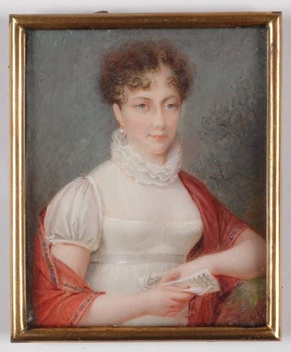 "Pierre-Guillaume BOELLE - Miniature - Parisian Miniaturist Boelle, ""Portrait of a Lady"", 1809"