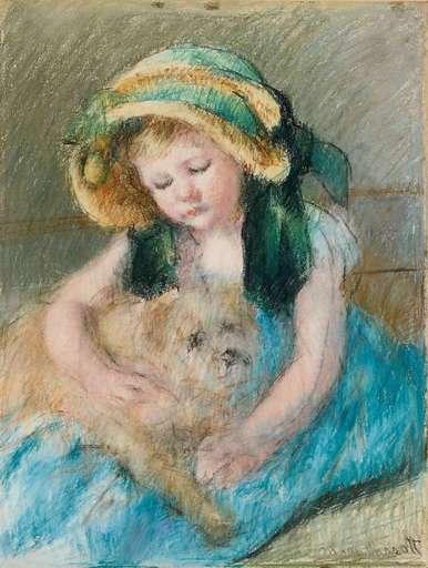 Mary CASSATT - Dibujo Acuarela - Sara au bonnet avec son chien