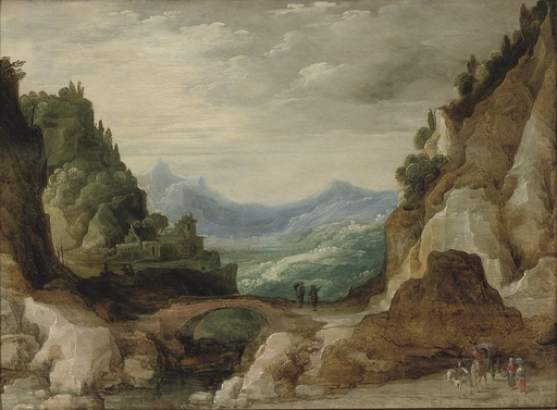 Joos II DE MOMPER - Pittura - An extensive rocky landscape with travelers by a bridge
