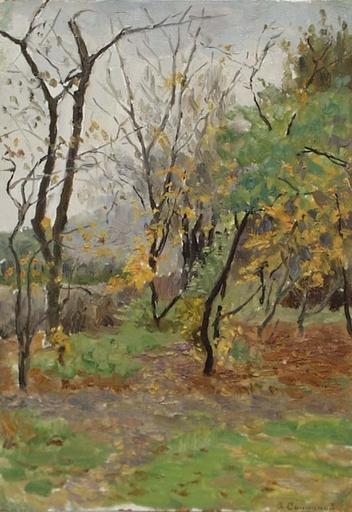 """Vladimir M. SINITSKI - Peinture - """"Autumn"""" by Vladimir Sinitski, ca 1950"""