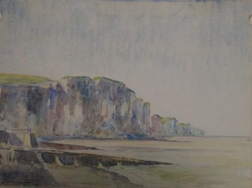 Georges Henri TRIBOUT - Dibujo Acuarela - Falaises en Normandie