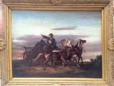 Friedrich KAISER - Painting - rasante russische Troikafahrt