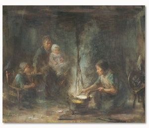 Jozef ISRAELS - Painting - Woman Cooking