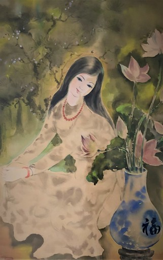 Tu DUYEN - Dibujo Acuarela - Young Lady with Flowers