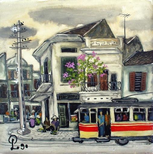 PHAM LUAN - Painting - hanoi scene with street car