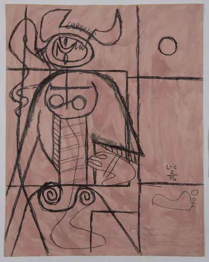 LE CORBUSIER - Drawing-Watercolor - Taureau (Variante sur le thème Taureau VII)