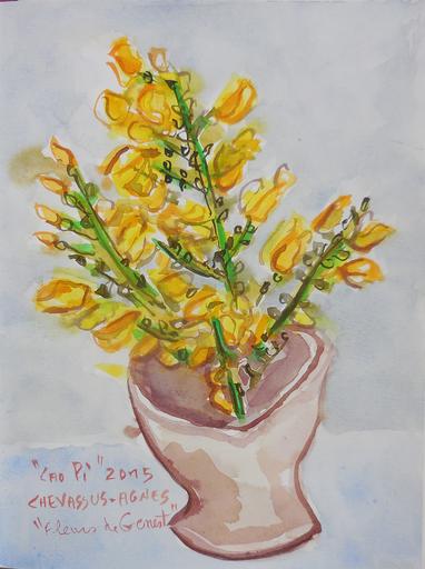 Jean-Pierre CHEVASSUS-AGNES - Drawing-Watercolor - Fleurs de GENETS  en bouquet