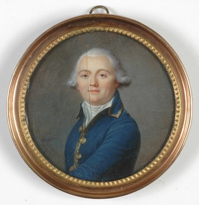 """Jean-Baptiste AUGUSTIN - Dessin-Aquarelle -  """"Portrait of a gentleman"""" important miniature"""