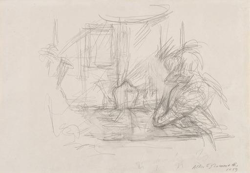 Alberto GIACOMETTI - Drawing-Watercolor - Femme accoudée et personnage lisant à Maloja
