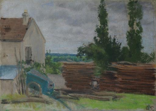 Camille PISSARRO - Drawing-Watercolor - Louveciennes, vue sur le Mont Valérien
