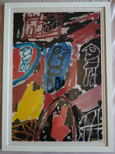 Jean DUBUFFET - Dibujo Acuarela - Site avec 3 personnages 1981: Acrylic on Paper