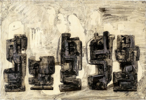 Henry MOORE - Dessin-Aquarelle - Five Square Forms in a Setting