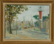 Léo DAVID - 绘画 - LA ROCHELLE - le phare d'alignement du vieux port