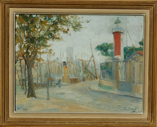 Léo DAVID - Gemälde - LA ROCHELLE - le phare d'alignement du vieux port