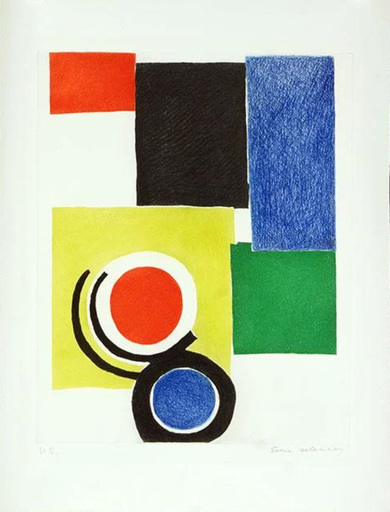 Sonia DELAUNAY-TERK - 版画 - Composition polychrome