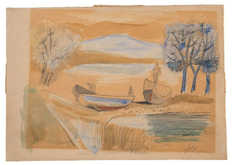 Avraham NATON - Drawing-Watercolor - Landscape in the Lake of Gallile