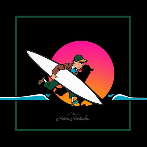 Rémi BERTOCHE - Painting - Tintin Surfer