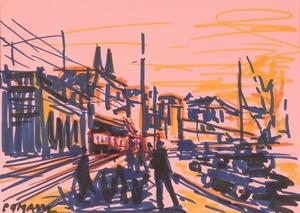 "Franz POMASSL - Zeichnung Aquarell - ""Cityscape"" 1970s, drawing"