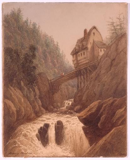 "Henry PANTON - Disegno Acquarello - ""In the Swiss Alps"", Watercolor, Mid 19th Century"