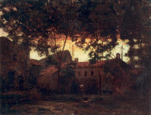 Victor CHARRETON - Gemälde - Scorcio di villaggio bretone, 1920 ca