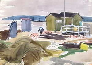 Erich HARTMANN - Disegno Acquarello - Hütte am Meer
