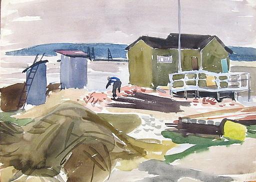 Erich HARTMANN - Dessin-Aquarelle - Hütte am Meer