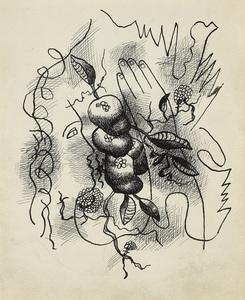 Fernand LÉGER - Dessin-Aquarelle - Composition au profil et à la main