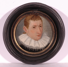 """Lorenz STRAUCH - Miniature - """"Young Man"""", 1592, Oil on Copper"""