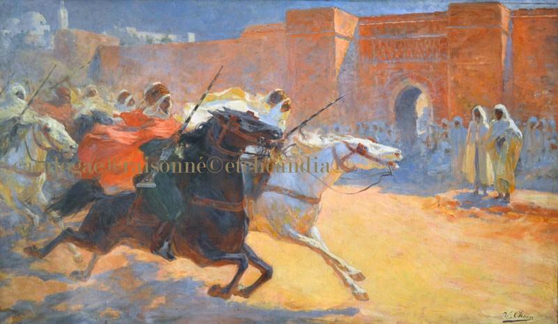Ulpiano CHECA Y SANZ - Painting - Cavaliers berbères  -  Fantasia