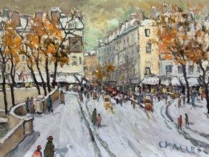 Charles MALLE - Painting - Paris sur le Pont Neuf