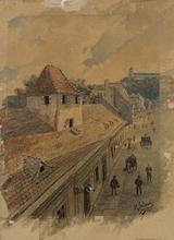 "Rudolf JELINEK - Drawing-Watercolor -  ""View of Brno"", Watercolor, 1904"