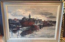 Juul CORT DE - Pintura - haven antwerpen met boten