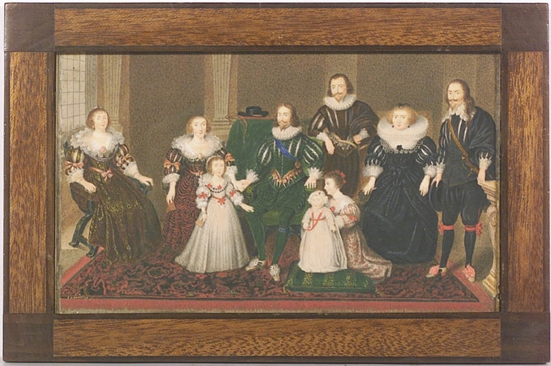 """George Perfect HARDING - Zeichnung Aquarell - """"Buckingham Family"""", early 19th Century, Watercolor"""