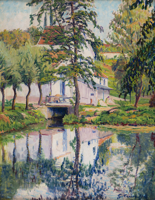Gustave CARIOT - Peinture - Moulin de Périgny, réflexions sur l'eau