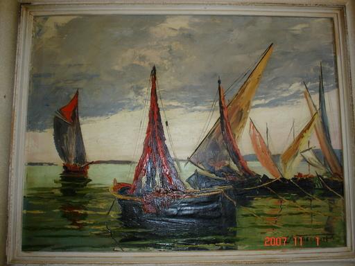 Gustave PÉTREQUIN-DARD - Pintura - les barques sur le leman