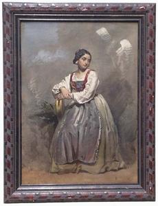 "Franz PITNER - Zeichnung Aquarell - ""Young Neapolitan Woman"", Watercolour"