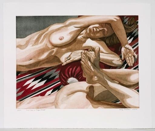 Philip PEARLSTEIN - Grabado - 2 Nudes on Navajo Blanket