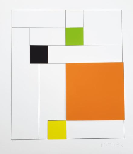 Gottfried HONEGGER - Estampe-Multiple - Composition 4 carrés 3D (orange, vert, noir, jaune)